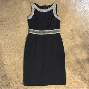Black professional dress with tweed accents